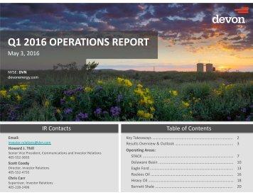Q1 2016 OPERATIONS REPORT