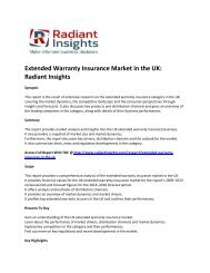 UK Extended Warranty Insurance Market Key Trends, Size, Drivers, Outlook, Strategies 2018 By Radiant Insights