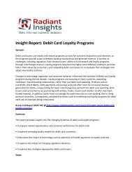 Debit Card Loyalty Programs Market Emerging Opportunities, Size Report 2016 By Radiant Insights