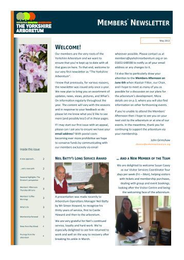 Yorkshire Arboretum Newsletter - Issue 1 - May 2013