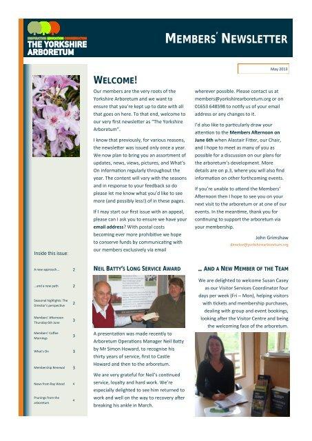 Yorkshire Arboretum Newsletter - Issue 1 - May 2013