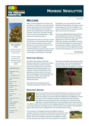 Yorkshire Arboretum Newsletter - Issue 2 - August 2013