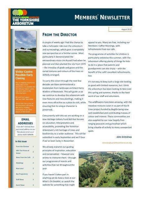 Yorkshire Arboretum Newsletter - Issue 6 - August 2015