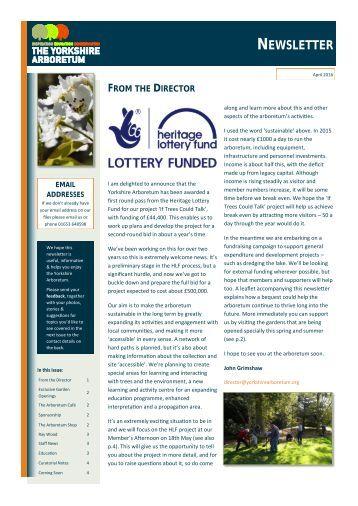 Yorkshire Arboretum Newsletter - Issue 7 - April 2016