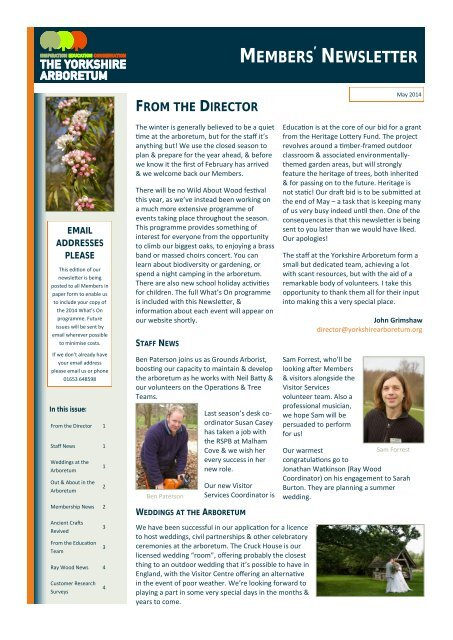Yorkshire Arboretum Newsletter - Issue 3 - May 2014