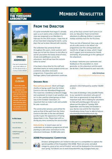 Yorkshire Arboretum Newsletter - Issue 4 - August 2014