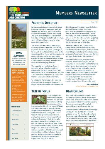 Yorkshire Arboretum Newsletter - Issue 5 - March 2015