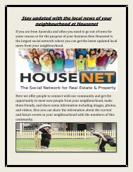 Stay updated with the local news of your neighbourhood at Housenet