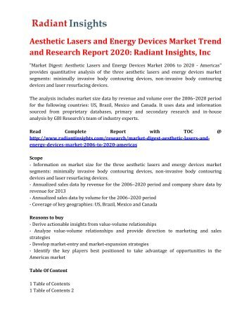 Aesthetic Lasers and Energy Devices Market Trend and Research Report 2020