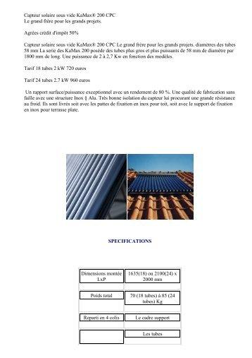 Poussoirs sous vide pour l 39 artisanat for Capteur solaire sous vide