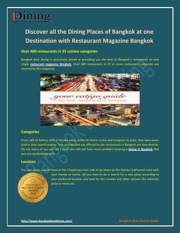 Discover all the Dining Places of Bangkok at one Destination with Restaurant Magazine Bangkok