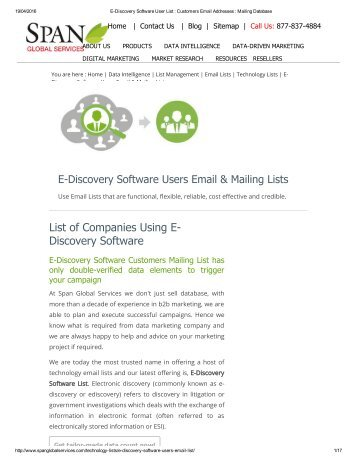 Purchase List of E-Discovery Software Customers from Span Global Services