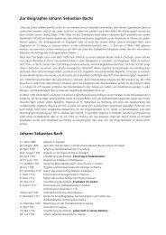 Zur Biographie Johann Sebastian Bachs