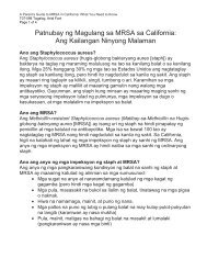 A Parent's Guide to MRSA (Tagalog) - Health Services ... - Toolkit