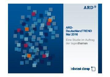 DeutschlandTREND Mai 2016 Eine Studie im Auftrag der tagesthemen themen