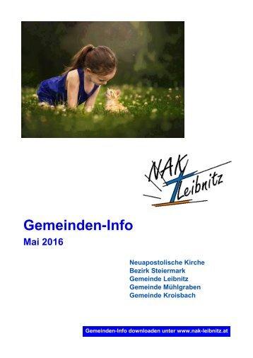 Gemeindeinfo Mai - Juni 2016