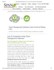 Get Client Management Software Customers List from Span Global Services