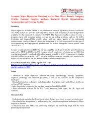 Lexapro (Major Depressive Disorder) Market Statistics & Industry Facts To 2023