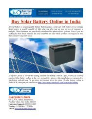 Buy Solar Battery Online in India