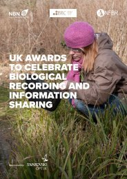 UK AWARDS TO CELEBRATE BIOLOGICAL RECORDING AND INFORMATION SHARING