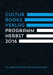 CulturBooks Verlag Vorschau Herbst 2016