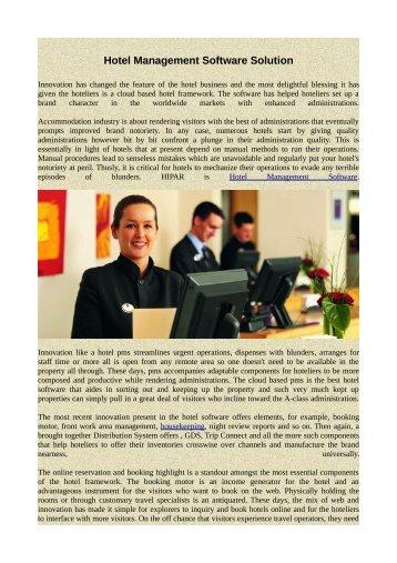 Hotel Management Software Solution
