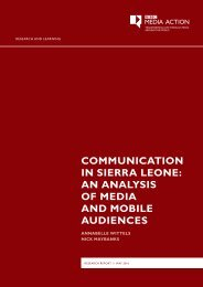 COMMUNICATION IN SIERRA LEONE AN ANALYSIS OF MEDIA AND MOBILE AUDIENCES