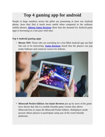 Top 4 gaming app for android