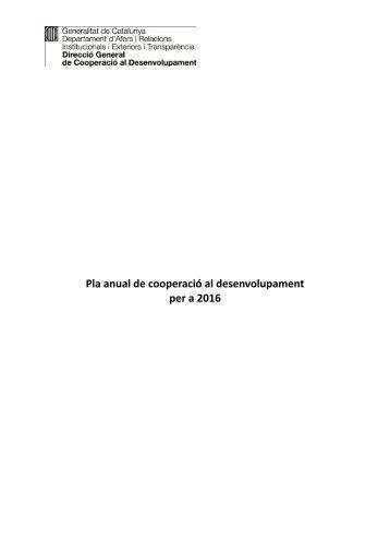 Pla anual de cooperació al desenvolupament per a 2016