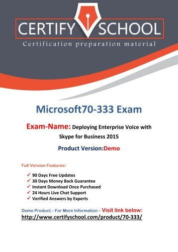 CertifySchool 70-333 Questions With Authentic Answers