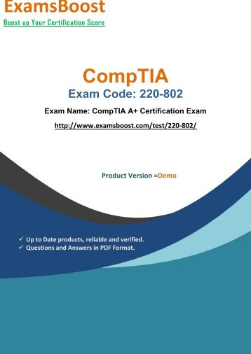 ExamsBoost 220-802 Certification Study Kits