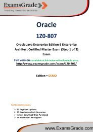 ExamsGrade 1Z0-807 Exam PDF Study Kits
