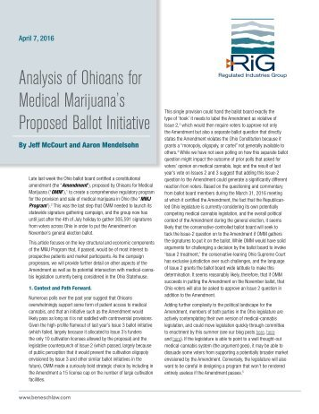 Analysis of Ohioans for Medical Marijuana's Proposed Ballot Initiative