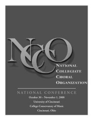 national conference - The National Collegiate Choral Organization