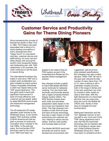 Customer Service And Productivity Gains For Theme Dining - Micros