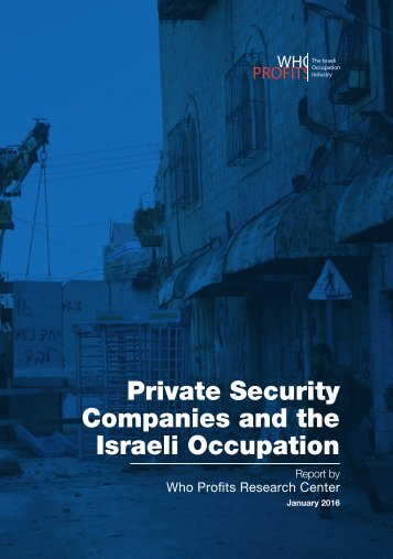 Private Security Companies and the Israeli Occupation