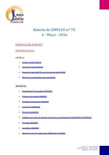 Boletín de EMPLEO nº 79 6 - Mayo - 2016