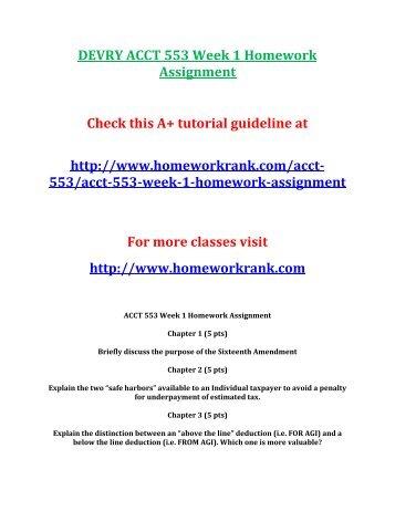 acct 553 week 1 assignment Acct601 - week 1 assignment 6 pages week 2 hw - ifrs updates devry university, keller graduate school of management acct 601 - summer 2015  acct 553 - tax.