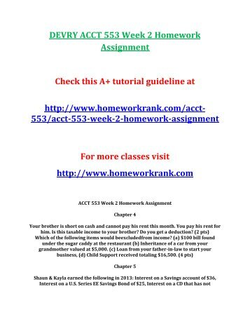 DEVRY ACCT 553 Week 2 Homework Assignment