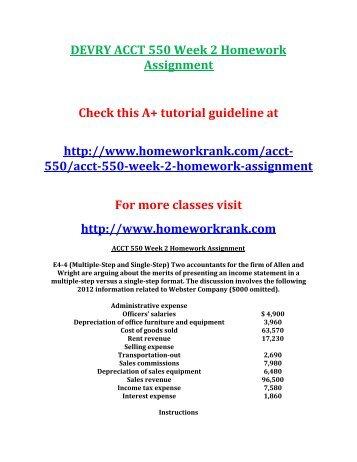 Devry acct 550 week 2 homework