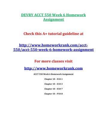 DEVRY ACCT 550 Week 6 Homework Assignment