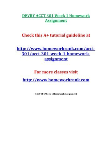 DEVRY ACCT 301 Week 1 Homework Assignment