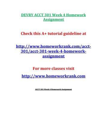 DEVRY ACCT 301 Week 4 Homework Assignment