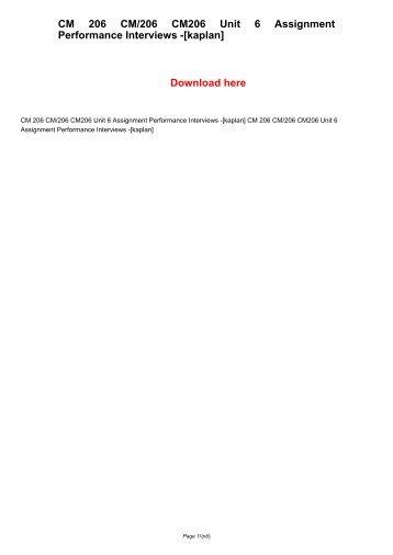 CM 206 CM/206 CM206 Unit 9 Assignment (Kaplan)