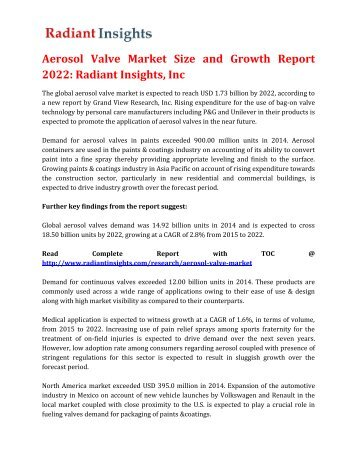 Aerosol Valve Market Size and Growth Report 2022