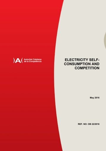 ELECTRICITY SELF- CONSUMPTION AND COMPETITION
