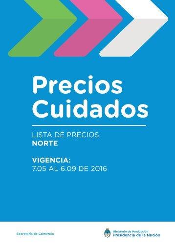 LISTA DE PRECIOS NORTE VIGENCIA 7.05 AL 6.09 DE 2016