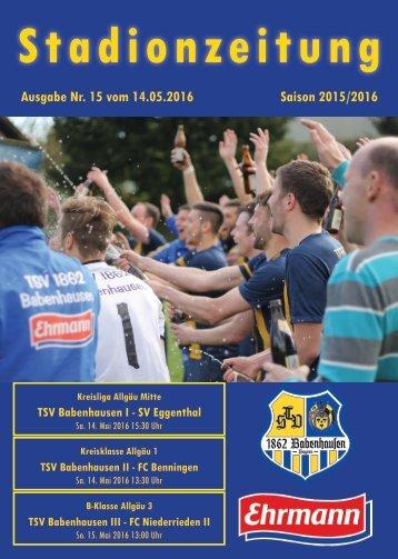 20160514 15 Stadionzeitung TSV Babenhausen - SV Eggenthal