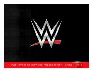 WWE INVESTOR NETWORK PRESENTATION – APRIL 4 2016