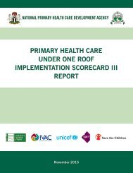 PRIMARY HEALTH CARE UNDER ONE ROOF IMPLEMENTATION SCORECARD III REPORT